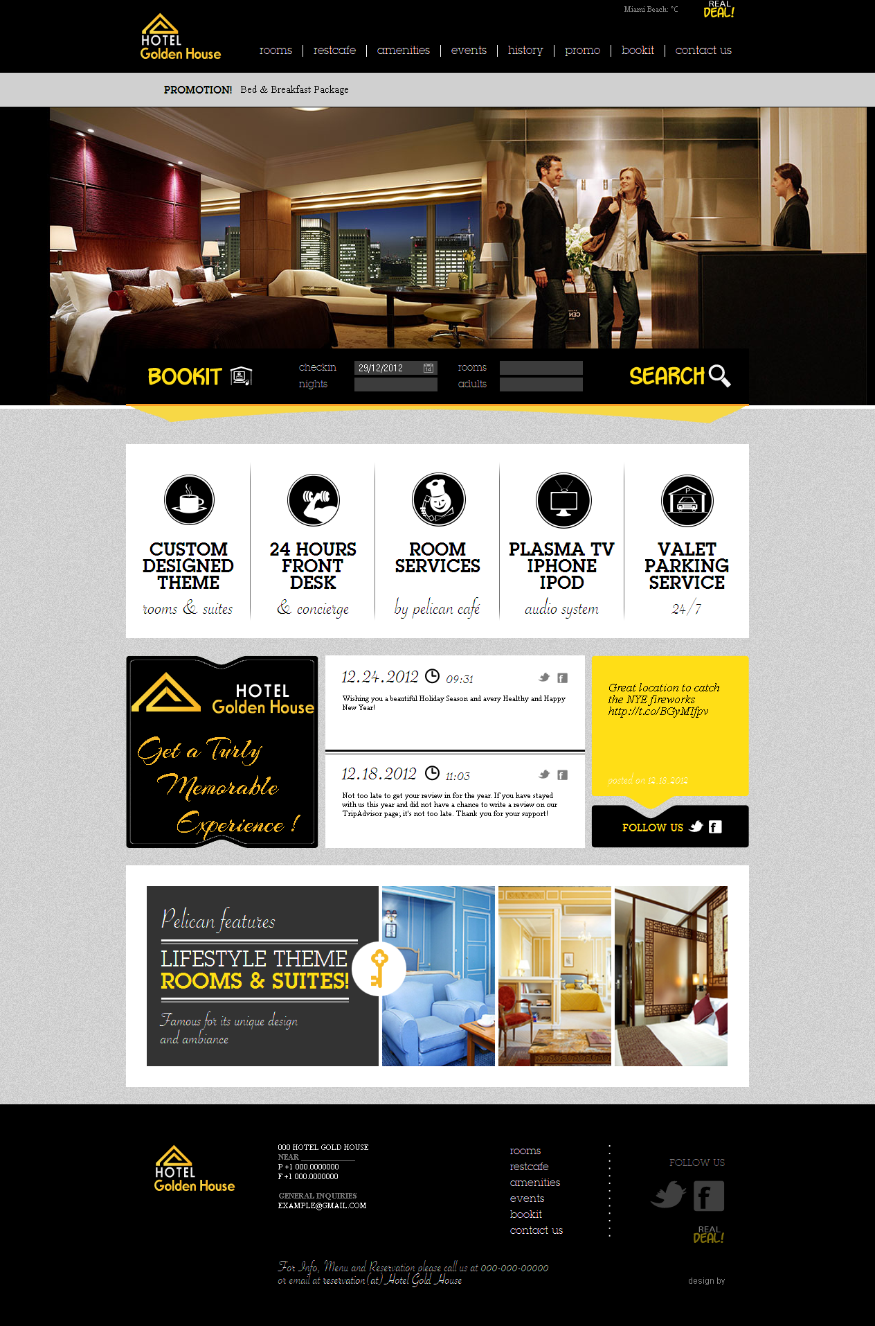 Hotel gold house website design bela graphic for Hotel web design