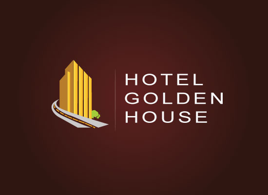 Hotel golden house logo design bela graphic for Hotel logo design